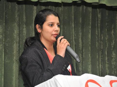 Mrs. Baljinder Kaur (Lecturer) During Presenting The presentation on WORLD AIDS DAY.