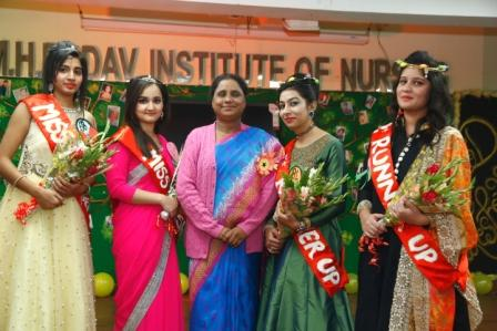 Principal Mam With Ms.Freshers and Ms.Runner Up students