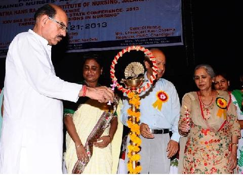 Lamp Lightning ceremony by honorable Chief Guest Shri Mohinder Bhagat Ji